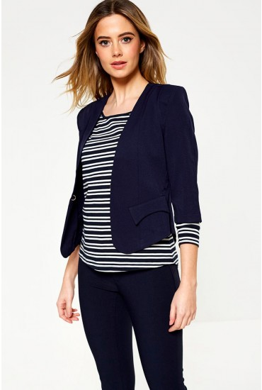 Kim Tailored Cropped Blazer in Navy