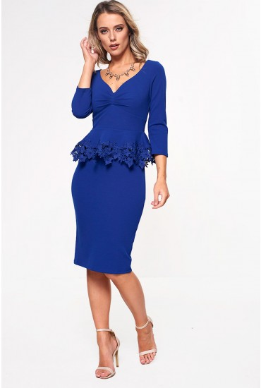 Neo Tailored Dress with Crochet Detail in Royal Blue