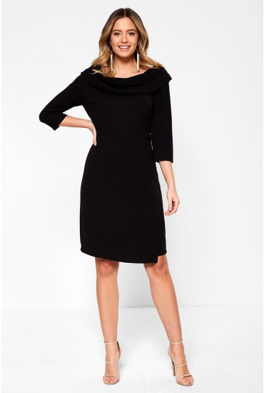 Judy Tailored Midi Dress with Cowl Neckline in Black