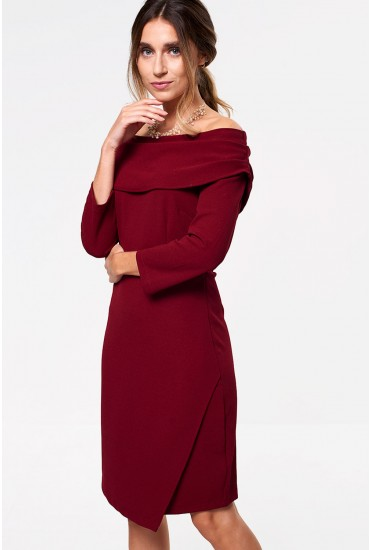 Judy Tailored Midi Dress with Cowl Neckline in Burgundy