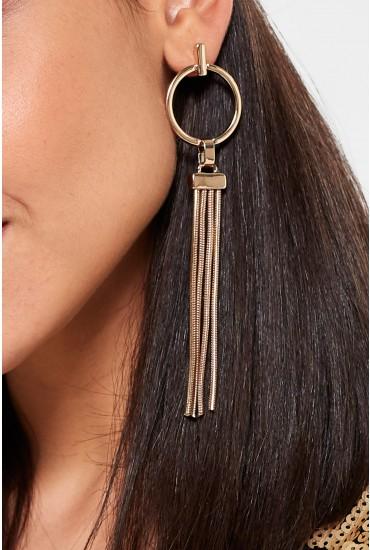 Smilla Creol Tassell Earrings in Gold