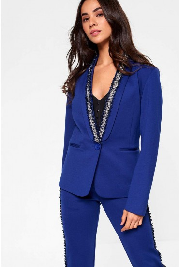 Taylor Tweed Trim Blazer in Blue