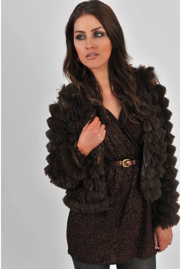 Tegan Shaggy Cropped Jacket in Brown
