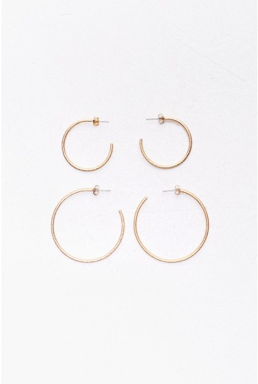 Tenna Hoop Earring Set in Gold