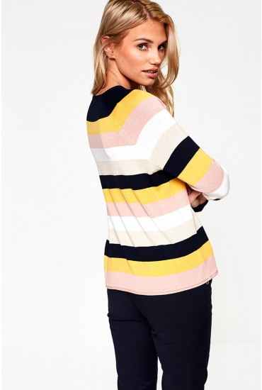 Teresa Knit Top in Navy Multi Stripe