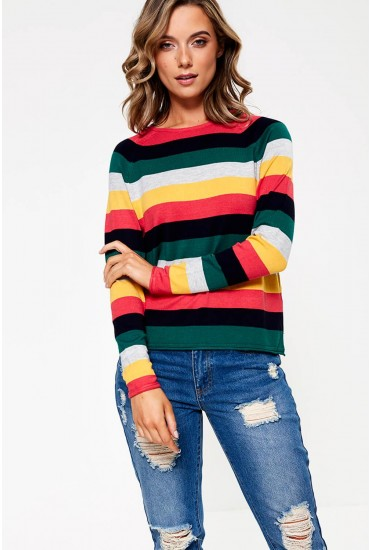 Teresa Knit Top in Red Multi Stripe