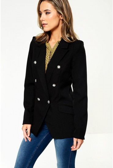 Tess Military Blazer in Black