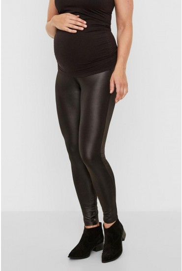 Tessa Maternity Wet Look Leggings in Black