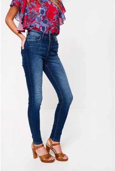 Jona Regular High Rise Skinny Jeans in Medium Blue