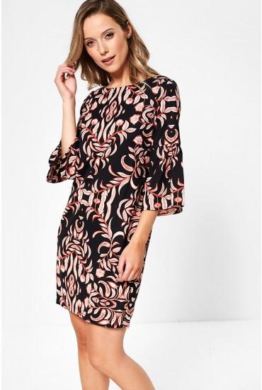 Gyana Three Quarter Sleeve Short Dress in Black