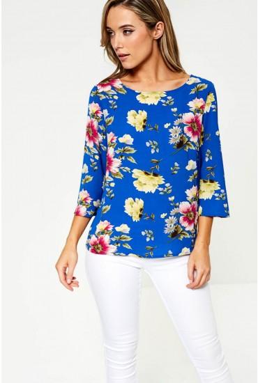 Hero Three Quarter Sleeve Top in Blue Floral Print