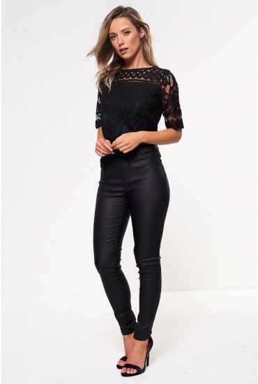 Thunder Regular High Rise Coated Trousers in Black
