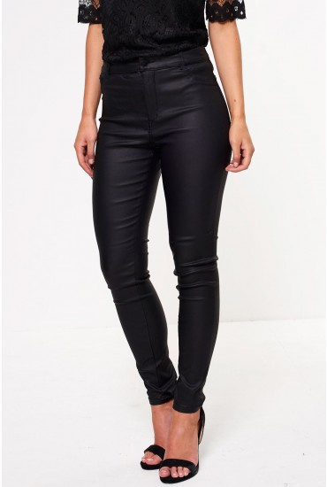 Thunder Short High Rise Coated Trousers in Black