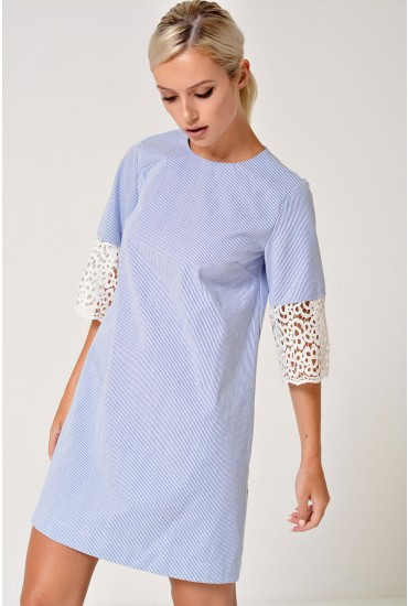 Tigard Lace Sleeve Pinstripe Dress in Blue