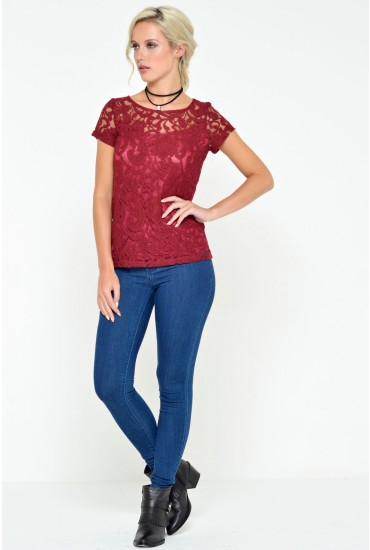 Adele Lace Top in Burgundy