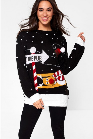To The Pub Christmas Jumper in Black