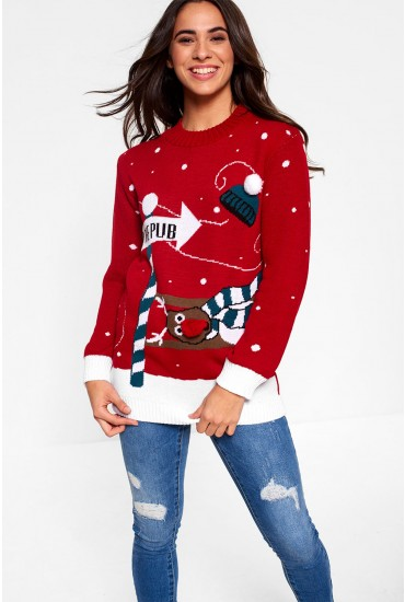 To The Pub Christmas Jumper in Red