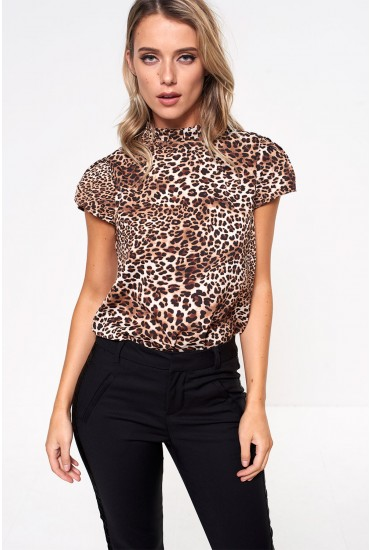 Millie Top with Frill Neck in Brown Animal Print