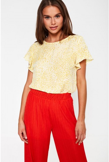 Lucy Top with Frill Sleeve in Yellow