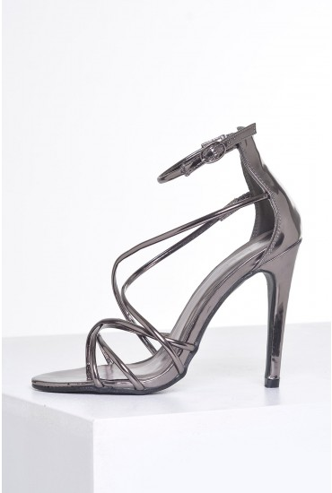 Lilly Strappy Sandals in Chrome