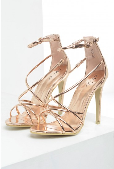 Lilly Strappy Sandals in Rose Gold
