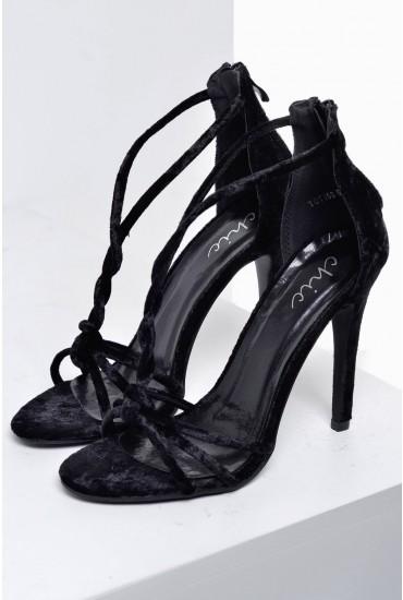 Aine T Bar Sandals in Black Velvet