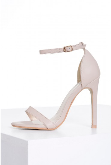Holly Ankle Strap Sandals in Nude