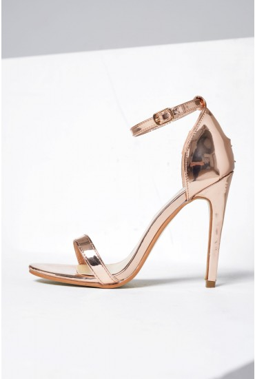 Holly Ankle Strap Sandals in Rose Gold Chrome