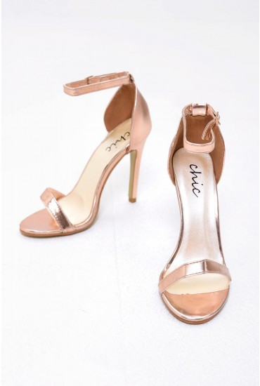 Holly Ankle Strap Sandals in Rose Gold Metallic