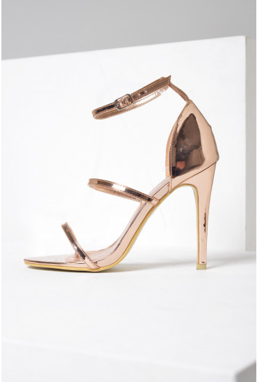 Lupita Strappy Sandals in Rose Gold