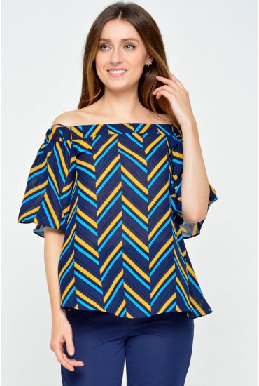 Cece Off The Shoulder Printed Top