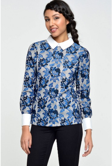 Francis Lace Top in Blue