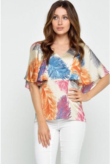 Nisha Palm Print Cape Top in Multi