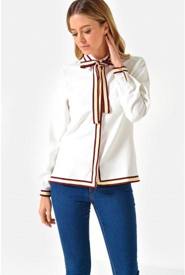 Helen L/S Bow Tie Shirt in Wine Trim