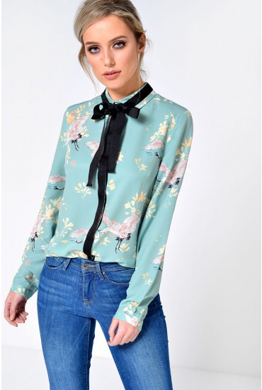 Willow Bird Print Shirt in Mint