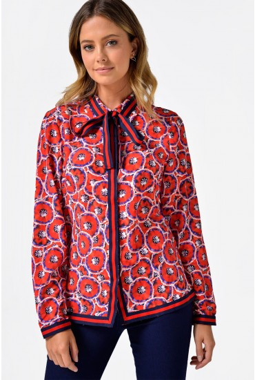 Susie Contrast Trim Shirt in Red Print
