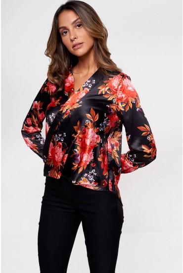 Dang Floral Print Mock Wrap Blouse In Black