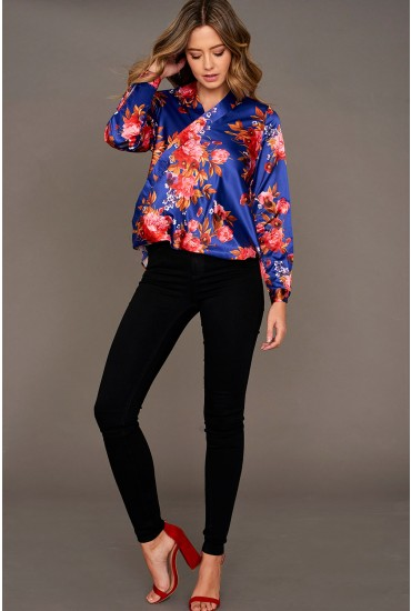 Dang Floral Print Mock Wrap Blouse in Blue