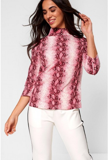 Lexi High Neck Top in Pink Snakeskin