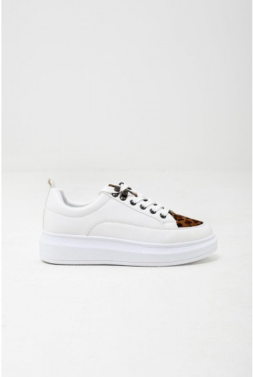 Aruana Trainers in White with Leopard Detail
