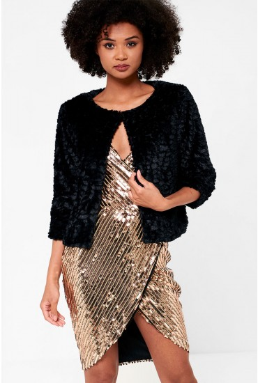 Trinny Cropped Faux Fur in Black