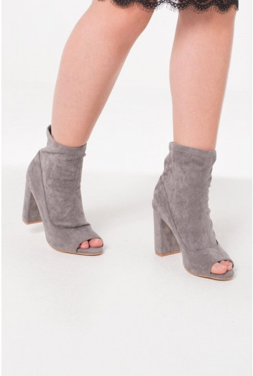 Trish Peep Toe Ankle Boot in Grey Suede