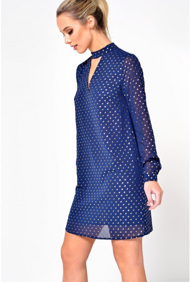 Trudi Foil Print Choker Dress in Navy