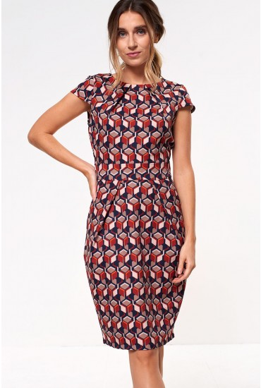 Aubree Tulip Dress in Rust Geometric Print
