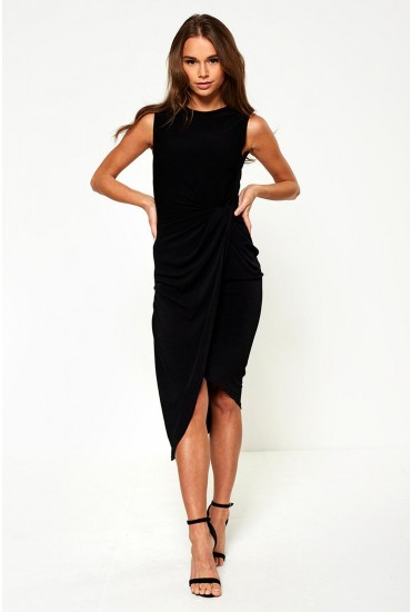 Kate Twist Front Jersey Dress in Black