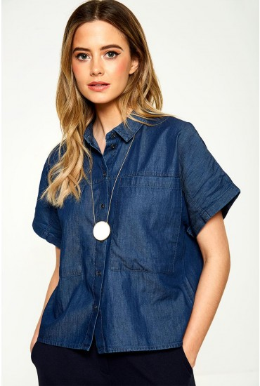 Lola Utility Denim Shirt in Dark Blue