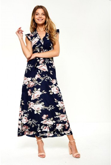 Kasiya V-Neck Maxi Dress in Navy Floral Print