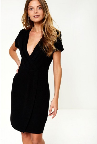 Haloke V-Neck Occasion Dress in Black