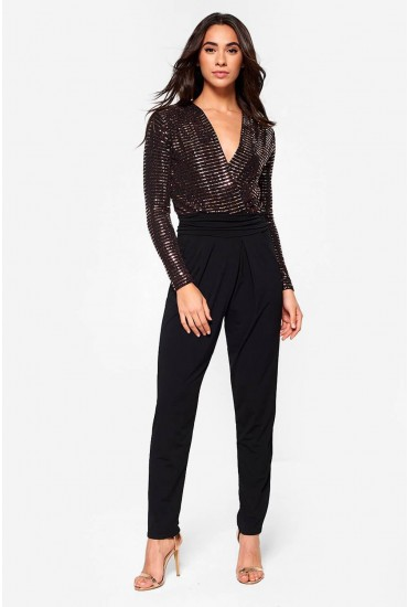Jess V Neck Long Sleeve Jumpsuit in Bronze Sequin