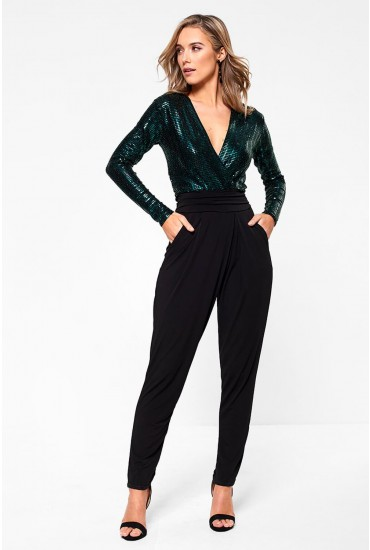 Jess V Neck Long Sleeve Jumpsuit in Green Sequin